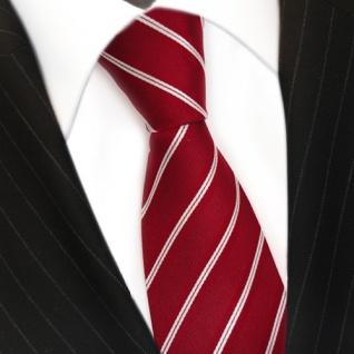 TigerTie Designer Seidenkrawatte rot signalrot weiss silber gestreift - Krawatte - Vorschau 3