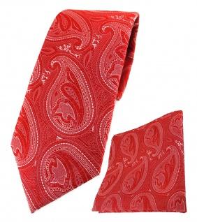 TigerTie Designer Krawatte + Einstecktuch in rot silber Paisley gemustert