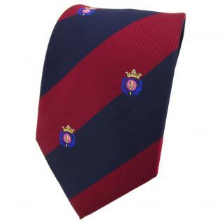 TigerTie Krawatte in rot weinrot dunkelblau gestreift mit Wappen - Tie Binder