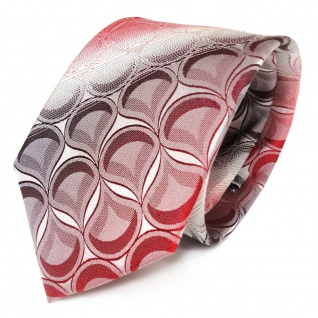 Seidenkrawatte rot weinrot weiss gestreift mit Muster - Krawatte 100% Seide Silk
