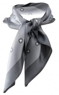 TigerTie Damen Satin Designer Nickituch in grau silber gemustert - 100% Seide