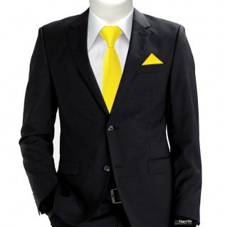 XXL TigerTie Sicherheits Krawatte + Einstecktuch gelb leuchtgelb Uni Rips - Vorschau 2