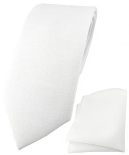 TigerTie Krawatte + Einstecktuch schneeweiss - aufgerauhte Oberfläche (Eisfond)