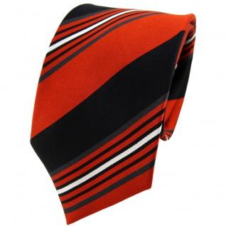 TigerTie Designer Seidenkrawatte orange schwarz anthrazit silber gestreift