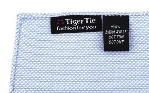 TigerTie Plastron Pique 2tlg Krawatte + Einstecktuch in hellblau-weiss gemustert - Vorschau 4