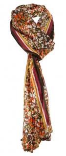 Schal in orange dunkelbraun grau bordeaux gemustert - Schalgröße 180x50 cm
