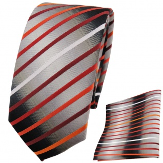 schmale TigerTie Krawatte + Einstecktuch orange silber grau schwarz gestreift