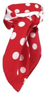TigerTie Damen Satin Nickituch rot weiß gepunktet - 100% Seide - Gr. 53 x 53 cm