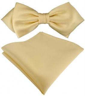 vorgebundene TigerTie Spitzfliege + Einstecktuch in hellgold Uni einfarbig + Box