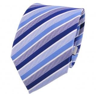 Designer Krawatte blau hellblau signalblau weiß gestreift - Schlips Binder Tie