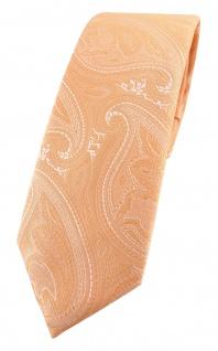 TigerTie - schmale Designer Krawatte lachsorange silberweiss Paisley gemustert