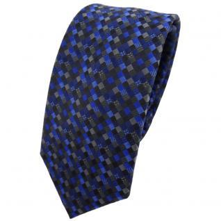 Schmale TigerTie Krawatte blau dunkelblau schwarz anthrazit grau gemustert - Tie