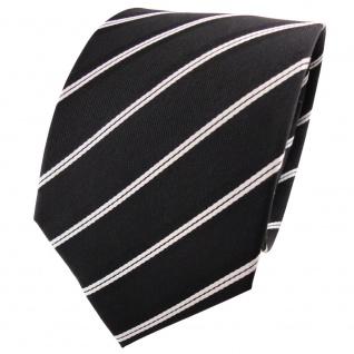 Designer Seidenkrawatte schwarz silber weiß gestreift - Krawatte Seide Silk Tie