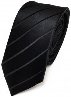 Schmale TigerTie Seidenkrawatte schwarz gestreift - Tie Krawatte 100% pure Seide