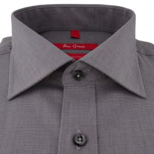 Ben Green Herrenhemd grau Uni langarm bügelfrei - New-Kent-Kragen Hemd Gr.45 - Vorschau 2
