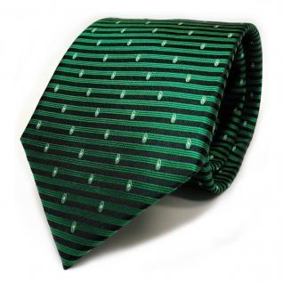 Designer Seidenkrawatte grün schwarz silber gestreift - Krawatte Seide