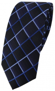 schmale TigerTie Seidenkrawatte marine royal dunkelblau blau kariert -100% Seide