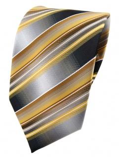 TigerTie Seidenkrawatte gold gelb grau silber weiß gestreift - Krawatte Seide