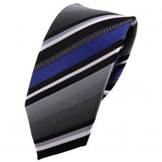 schmale TigerTie Krawatte - Tie Binder blau silber grau weiss schwarz gestreift