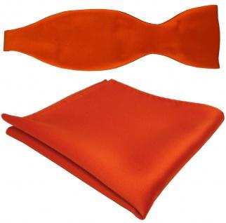 TigerTie Satin Selbstbinder Fliege + Einstecktuch orange leuchtorange einfarbig