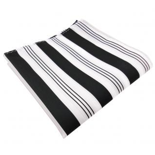 schönes Einstecktuch schwarz anthrazit weiß silber gestreift - 100% Polyester