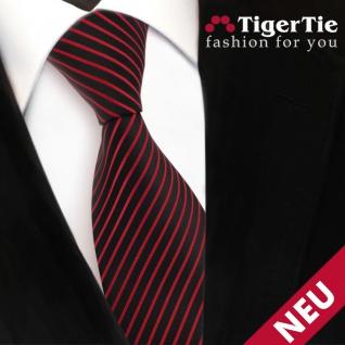 TigerTie Designer Satin Krawatte rot signalrot schwarz gestreift - Binder Tie
