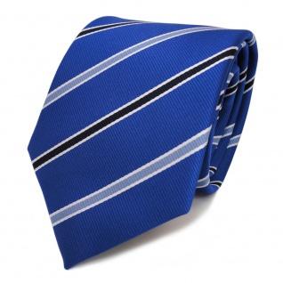 Designer TigerTie Krawatte blau kobaltblau schwarzblau weiss gestreift - Binder