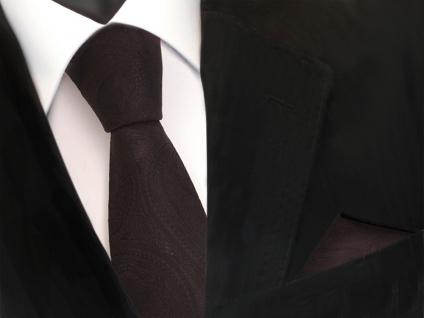 schöne TigerTie Krawatte + Einstecktuch in braun dunkelbraun paisley Muster