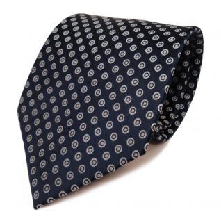 Designer Krawatte blau dunkelblau royal silber gepunktet - Schlips Binder Tie