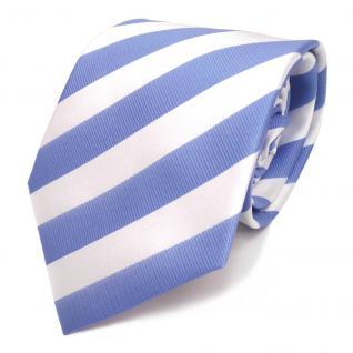TigerTie Designer Krawatte blau babyblau himmelblau weiss gestreift - Binder Tie