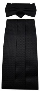 G2 Kummerbund Einstecktuch Fliege schwarz 100% Seide gemustert Gr. 85 bis 110 cm