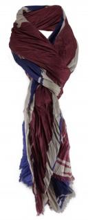Schal in bordeaux dunkelblau beige - flaggen style england - Gr.175 x 110 cm
