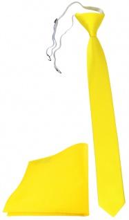 TigerTie Sicherheits Krawatte + Einstecktuch in gelb leuchtgelb einfarbig Rips