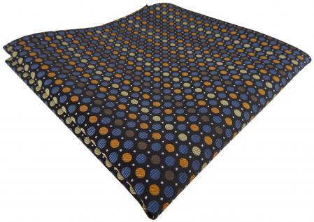 TigerTie Designer Einstecktuch braun blau gold orange silber schwarz gepunktet