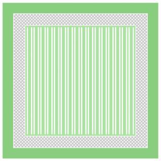 TigerTie Seiden Nickituch Satin in grün grau weiss gestreift - Größe 50 x 50 cm