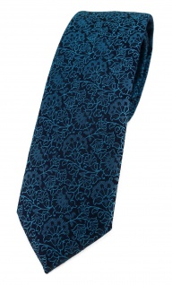 TigerTie - schmale Designer Krawatte in petrol schwarz florales Muster