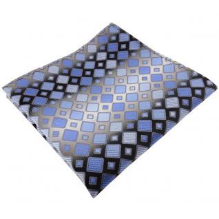 TigerTie Einstecktuch in blau hellblau silbergrau kariert - Tuch 100% Polyester