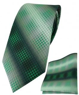 TigerTie Krawatte + Einstecktuch in grün dunkelgrün silber grau schwarz kariert