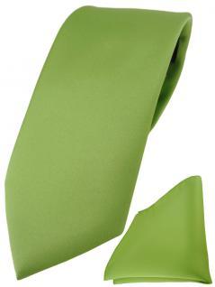 TigerTie Designer Krawatte + TigerTie Einstecktuch in hellgrün einfarbig uni