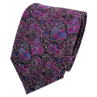 Designer Krawatte magenta fuchsia lila blau grau Paisley - Schlips Binder Tie