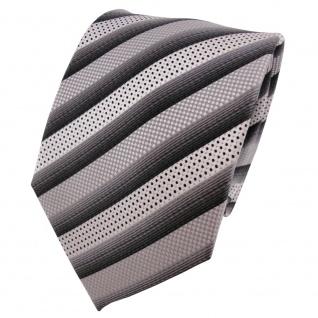 Enrico Sarto hochwertige Seidenkrawatte silber grau anthrazit gestreift - Seide
