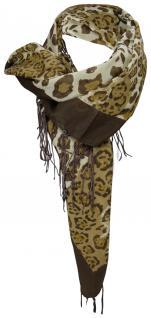 Halstuch in braun beige Leopardenmuster mit Fransen - Gr. 90 x 90 cm