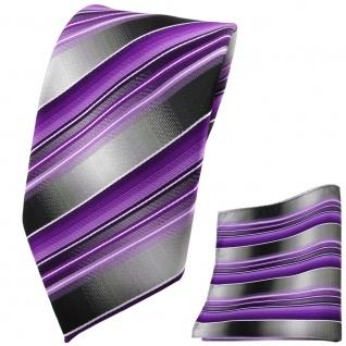 TigerTie Krawatte + Einstecktuch lila flieder anthrazit silber grau gestreift