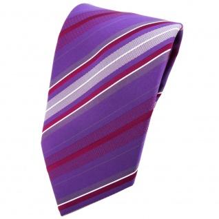 TigerTie Krawatte lila violett silber rot grau gestreift - Tie Binder
