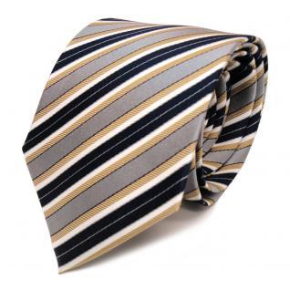 Designer Seidenkrawatte gold grau blau dunkelblau creme gestreift - Krawatte Tie