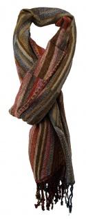 TigerTie Schal braun rot blau grau olive gold rosa gemustert - Gr. 180 x 70 cm