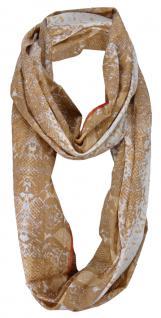 Loop Schal in braun beige grau rotbraun gemustert - Tuch Gr. 185 x 50 cm