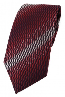 TigerTie Designer Krawatte in rot weinrot schwarz silber grau gemustert