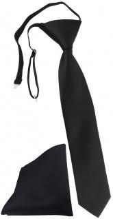 TigerTie Kinderkrawatte + Einstecktuch in schwarz Uni - vorgebunden mit Gummizug