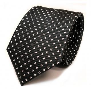 TigerTie Seidenkrawatte grau anthrazit dunkelgrau weiss gepunktet - Krawatte